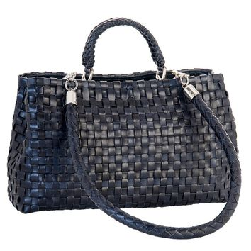 Serena-Hand Woven Leather Handbag-Midnight Blue