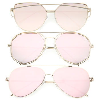 Women's Retro Modern Pink Pantone Sunglasses - 3 Pack