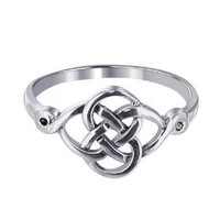 Sterling Silver Polish Finish Celtic Rounded Knot Design Ring
