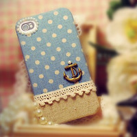Linen iPhone 4 case- Anchor on blue polka