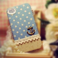 Linen iPhone 4 case, iPhone 4s case, iPhone case, case for iPhone 4 - Anchor on blue polka