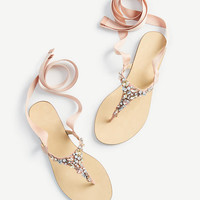 Gayla Jeweled Lace Up Thong Sandals | Ann Taylor