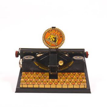 Tin Toy Typewriter, Child's Tin Toy, Vintage Toy, Dial Typewriter, Marx Typewriter, Typewriter Toy, Metal Typewriter. Office Toy
