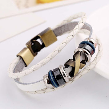 Vintage Religious Cross Genuine Leather  Bracelet Cool European Punk Hologram  Bracelet & Bangle for Women Men Wristband Jewelry