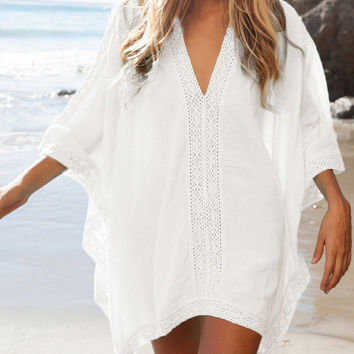 White Poncho Beach Cover-Up