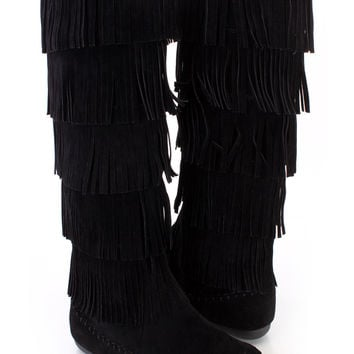 Black Fringe Tiered Moccasin Style Boots Faux