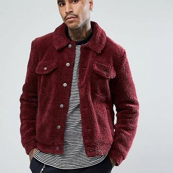 ASOS Borg Western Jacket in Burgundy at asos.com