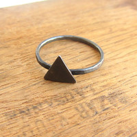 Triangle ring, oxidized black sterling silver, minimalist spike simple stacking ring