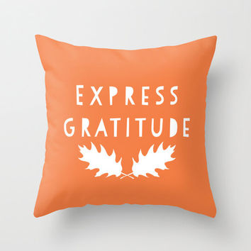 Express Gratitude Pillow Cover, fall decor, orange quote pillow, oak leaves thanksgiving decor, woodland rustic decor, 18x18 pillow cover