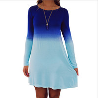Color Block Gradient Long Sleeve Dress