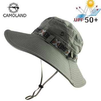 UPF 50+ Bucket Hat Summer Men Women Boonie Hat Outdoor UV Protection Wide Brim Military Army Hiking Fishing Tactical Sun Hat Cap