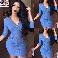 US Women Sexy Zip Up V Neck Demin Dress Bodycon Slim Clubwear Party Casual Dress