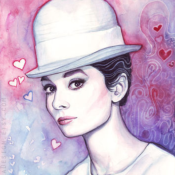 Audrey Hepburn Watercolor, Fashion Illustration, Romantic, Fine Art Giclee Print