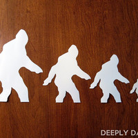 Sasquatch Clan Car Stickers - Bigfoot Family Auto Decal - Four Deeply Dapper Decals