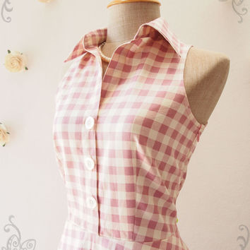 Pink Shirt Dress, Dusky Pink Gingham Dress, Vintage Style Dress, Cute Summer Sundress, Dancing Dress, Working Dress Size S, M, L