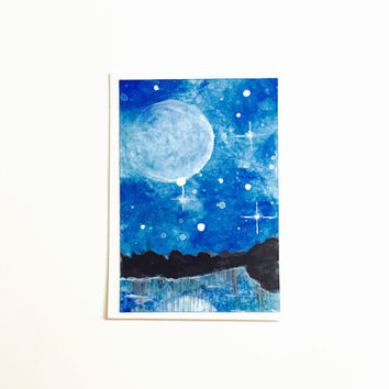 Original ACEO, Artist Trading Card, Blue Night Sky Landscape with Moon, Acrylic Painting