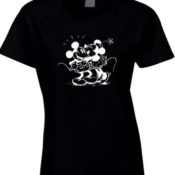 Disney  Sketch Minnie Kisses Mickey Womens T Shirt