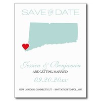 Connecticut State Map Save the Date Postcard