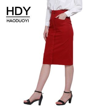 HDY Haoduoyi Brand 2017 Solid Red Elegant OL Women High Waist Pocket Mid-Calf Female Bottom Office Lady Skirts
