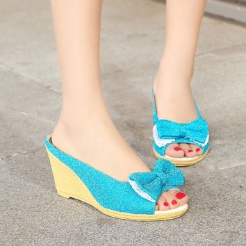 Open Toe Denim Bow High Heels Wedges Shoes Women Sandals 6336