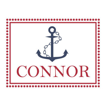 Nautical Wall Decal Ship Anchor Polk Dot Border And Personalized Name For Boy Baby Nursery Or Boys Room Vinyl Wall Art 22H x 30W BN030