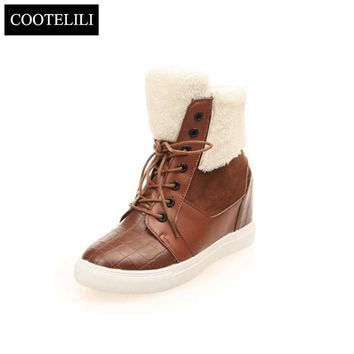 35-40 Winter Thick Red Boots Fashion Snow Boots For Women Fur Shoes Ankle Boots Girls Leather Wedges Platform Shoes Women Flats