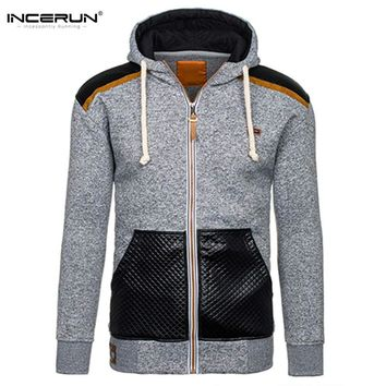 2017 Autumn Hoodie Mens Sweatshirts Casual Leather Stitching Spliced Zipper Hoody Jackets Men Hooded Sportswear Brand Clothing