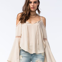 Others Follow Womens Cold Shoulder Top Cream  In Sizes