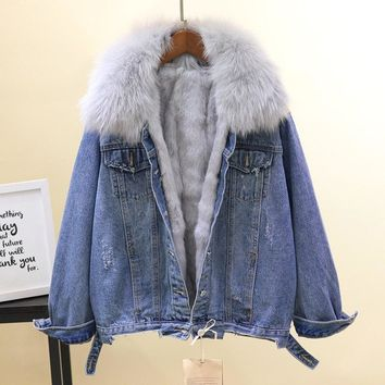 Winter Short Denim Jacket Woman Fashion Thickened Warm Coat Natural Fox Fur Collar + Real Rabbit Fur Liner Coat Overcoat Femme