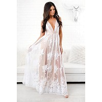 Top Of The Class Plunging Neckline Dress (White/Nude)