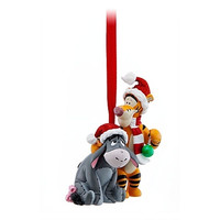 disney parks christmas santa eeyore and tigger glitter ornament new with tag