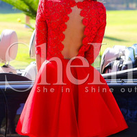 Red Half Sleeve Backless Scallop With Lace FLare Dress -SheIn(Sheinside)