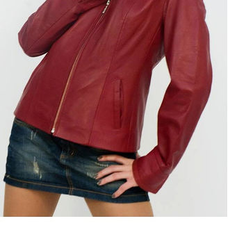 Handmade red women leather jacket, women biker leather jacket with quality zipper