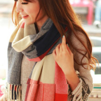 Plaid Blend Scarf For Women Winter