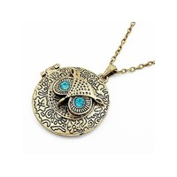 SALE! Bronze Owl With Blue Rhinestones Eyes Locket Pendant Necklace With Carved Floral Pattern