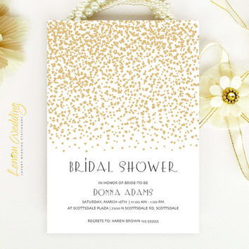 Starry Bridal Shower Invitation Gold Stars Modern Simple Printed On Luxury Pearlescent