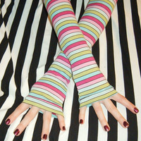 Candyland arm warmers stripes striped rainbow brite by Mellode