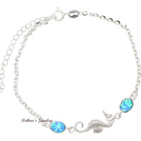 "925 Sterling Silver Rhodium Hawaiian Seahorse Blue Opal Link Chain Anklet 9.5""+"
