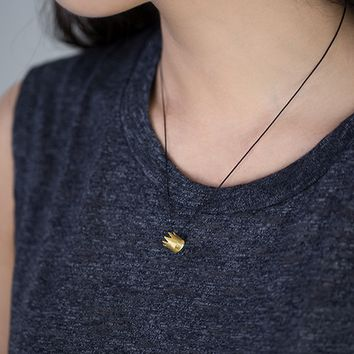 Tiny Crown Pendant Necklace in gold / silver