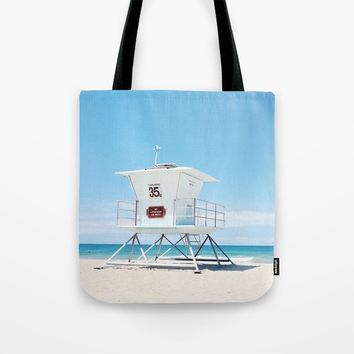 Lifeguard tower Carlsbad 35 Tote Bag by sylviacookphotography