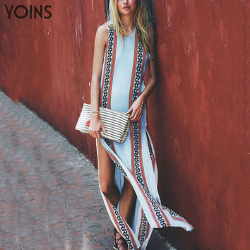 YOINS New Arrival Bohemian Style Maxi Dress Women Fashion Print Sexy Split Hem Sleeveless Beach Long Dresses Vestidos Femininos