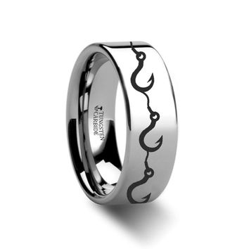 Sea Pattern - Multiple Fishing Hook - Sea Print Ring - Laser Engraved - Flat Tungsten Ring - 4mm - 6mm - 8mm - 10mm - 12mm