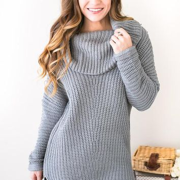 Sing To Me Softly Heather Grey Sweater Dress