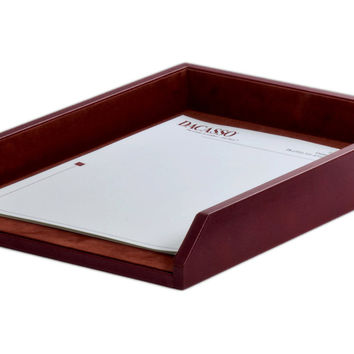 Dacasso Office Organization Paper Document Mail Storage Desktop Decorative Mocha Leather Letter Tray