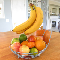Evelots Metal Round Fruit Bowl & Banana Holder,Kitchen Storage Organizers,Silver
