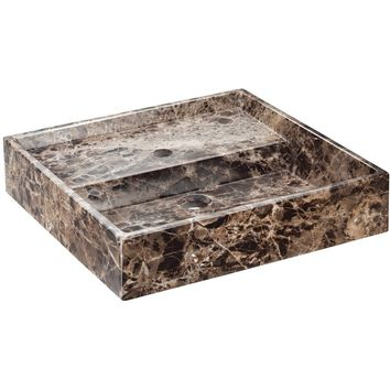 Exclusive Square Vessel Sink Countertop Lavatory Washbasin Gloss Breccia Marble