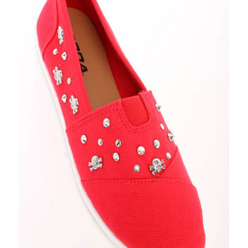 Red Skull Charm Studded Round Close Toe Flats Denim