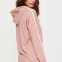 Missguided - Pink Stripe Hoodie and Runner Short Pyjama Set