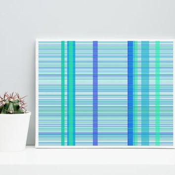 Abstract Art Plaid_9j, Limited Edition Giclee 10x8 cotton rag paper, Paul Klee inspired living room wall art blue and green geeky