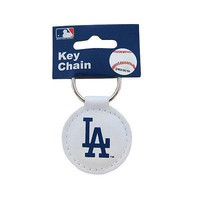 Licensed Official New MLB Los Angeles LA Dodgers White Genuine Leather Keychain Keyring